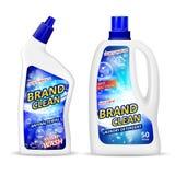 Realistyczny plastikowy butelki mockup z etykietką, antibacterial gel pralniany detergent dla czyści łazienki, ciekły mydło Zdjęcie Royalty Free