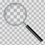 Realistyczny powiększać - szkło odizolowywający na przejrzystym w kratkę tle również zwrócić corel ilustracji wektora zdjęcia stock