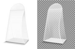 Realistyczny przejrzysty papier lub plastikowy pakuje pudełko ilustracji