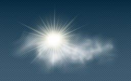 Realistyczny słońce z chmurami odizolowywać na przejrzystym tle sunlight Słońce promienie chmurnieje przejrzystego również zwróci ilustracji