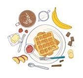 Realistyczny skład z wyśmienicie słodkimi śniadaniowymi posiłkami i deserowym ranku jedzeniem - opłatki kłama na talerzu, owoc royalty ilustracja