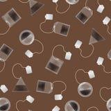 Realistyczny Szczegółowy 3d Herbacianej torby Bezszwowy Deseniowy tło wektor Zdjęcia Royalty Free