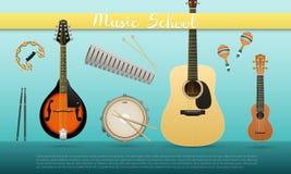 Realistyczny sztandar z instrumentami muzycznymi z szyldową Muzycznej szkoły gitarą akustyczną, ukulele, mandolina, matnia bęben, ilustracja wektor
