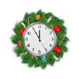 Realistyczny Wektorowy Bożenarodzeniowy wianek z zegarem Pokazuje 5 minut Dwanaście Boże Narodzenia, nowego roku projekta element ilustracja wektor