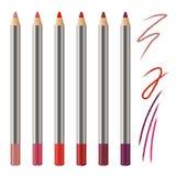 Realistyczny wektorowy ustawiający warga ołówka mockup Dekoracyjnego kosmetyka barwioni ołówki Rewolucjonistka, menchia, magenta  obrazy stock