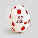 Realistyczny Wielkanocny jajko z czerwonymi punktami wielkanoc szczęśliwy Obraz Royalty Free
