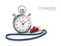 Realistyczny wizerunek sporta stopwatch z gwizd Symbol rywalizacja ilustracja 3 d ilustracji