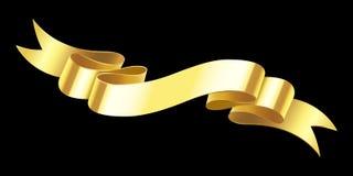 Realistyczny złocisty sztandar Złoty horyzontalny świętowanie faborek Ślimacznica faborki i nagroda sztandarów odosobniony wektor royalty ilustracja