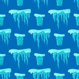Realistycznych czap lodowa snowdrifts tła bezszwowi deseniowi sople łamający kawałka kawałka gomółki zimno marznąca blokowa kryst ilustracji
