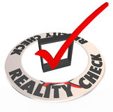 Reality Check Mark Box Realistic Potential Possibility. Reality Check words around a checkmark and box to illustrate what is potential, possible and attainable Stock Image