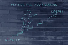 Reality or dream, man climbing stairs metaphor Royalty Free Stock Image