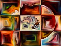 Reality of Living Canvas. Inner Texture series. Backdrop design of human face, colors, organic textures, flowing curves for works on inner world, mind, Nature royalty free illustration