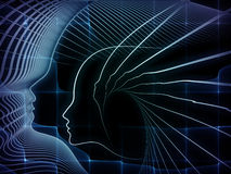 Reality of Soul Geometry. Geometry of Soul series. Composition of profile lines of human head with metaphorical relationship to education, science, technology Stock Photography