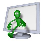 Reality tv. Green guy and flatscreen monitor - 3d illustration Royalty Free Stock Images