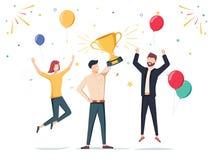 Realização da vitória Empregado feliz da empresa que concede um prêmio do troféu ilustração do vetor