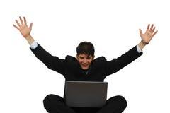 Realização - homem de negócio bem sucedido feliz foto de stock royalty free