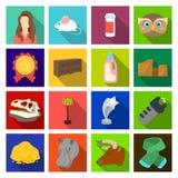 realizações, turismo, ecologia e o outro ícone da Web no estilo liso ilustração do vetor