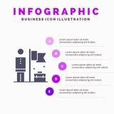 Realizado, consiga, homem de negócios, fundo contínuo da apresentação das etapas de Infographics 5 do ícone da bandeira ilustração stock