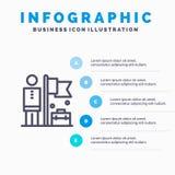 Realizado, consiga, o homem de negócios, linha de bandeira ícone com fundo do infographics da apresentação de 5 etapas ilustração royalty free