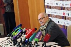 Realizador de cinema Nikita Mikhalkov na imprensa-conferência foto de stock royalty free