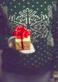 Realizar da menina no presente de Natal das mãos Imagens de Stock Royalty Free