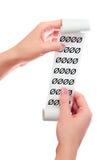 Realizar da mulher em seu rolo das mãos de papel com recibo impresso Símbolos zero Imagens de Stock Royalty Free