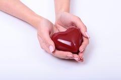 Realizar fêmea do doutor da medicina no coração vermelho do brinquedo das mãos e o estetoscópio dirigem Cardio- therapeutist, edu Foto de Stock Royalty Free