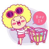 Realize the it girl shopping. Style Girl Character Design Series Stock Photo