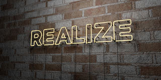 REALIZE - Glowing Neon Sign on stonework wall - 3D rendered royalty free stock illustration Stock Photos