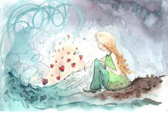 Realizzazione della pittura dei desideri della ragazza nell'amore Fotografie Stock