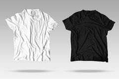 Reallistic T-Shirt Twin Unisex Black and White Mockup. Wrinkled Reallistic T-Shirt Mockup in two colors: black and white for product presentation Stock Image