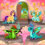 Realm of fantasy with a door on the real world. Happy pegasus, unicorn and baby dragons, vector illustration vector illustration