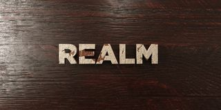 Realm - grungy wooden headline on Maple - 3D rendered royalty free stock image. This image can be used for an online website banner ad or a print postcard royalty free illustration