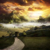 The Realm Of Light. A road to a fantasy landscape with a castle on a hill