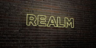REALM -Realistic Neon Sign on Brick Wall background - 3D rendered royalty free stock image Stock Photo