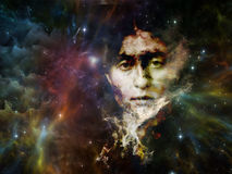 Realms of Our Past. Memory of Me series. Composition of female portrait and space texture  on the subject of art, philosophy and spirituality Royalty Free Stock Image