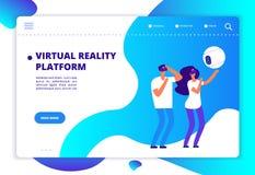Realtà aumentata virtuale La gente con spettacolo mobile e la cuffia avricolare che giocano gioco virtuale Tecnologia di futuro d illustrazione di stock