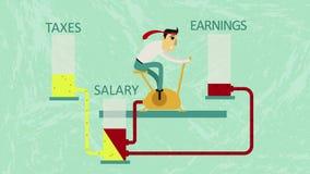 Realtà del sistema economico moderno - il più che guadagnate, il più spendete e pagate le tasse, ma il reddito rimane lo stesso o illustrazione vettoriale