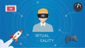 Realtà virtuale di VR che gioca gioco Fotografia Stock