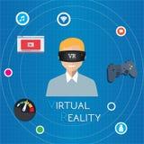 Realtà virtuale di VR che gioca gioco Immagini Stock
