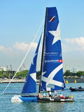 Realteam practising at Extreme Sailing Series Singapore 2013 Royalty Free Stock Images