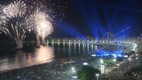 RealtidsNYE Copacabana, Rio de Janeiro, Brasilien arkivfilmer