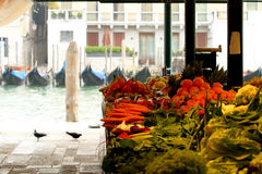 Realto market in Venice 2. Vegetable stands of Rialto market on Grand Canal, Venice, Italy Stock Image