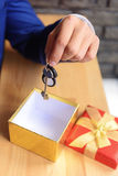 Realtor& x27; рука s с ключами к дому Стоковое Фото