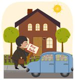 The Realtor. A realtor leaves his car and goes to put up a for sale sign in front of a home royalty free illustration