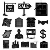 Realtor, agency black icons in set collection for design. Buying and selling real estate vector symbol stock web. Realtor, agency black icons in set collection Stock Photography