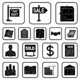 Realtor, agency black icons in set collection for design. Buying and selling real estate vector symbol stock web. Realtor, agency black icons in set collection Royalty Free Stock Image