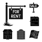 Realtor, agency black icons in set collection for design. Buying and selling real estate vector symbol stock web. Realtor, agency black icons in set collection Royalty Free Illustration