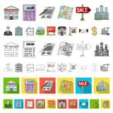 Realtor, agency cartoon icons in set collection for design. Buying and selling real estate vector symbol stock web. Realtor, agency cartoon icons in set royalty free illustration