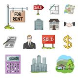 Realtor, agency cartoon icons in set collection for design. Buying and selling real estate vector symbol stock web. Realtor, agency cartoon icons in set Stock Photo